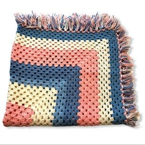 Crocheted Baby Blanket Pink Blue and White